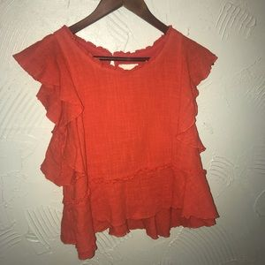 Anthropologie Maeve Orange Top